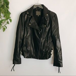 {MUUBAA}Nwot Black Sheep Leather Biker Moto Jacket